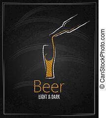 vidro cerveja, chalkboard, menu, fundo