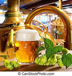 vidro, cerveja, cones, pulo, cervejaria