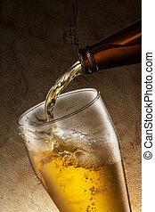 vidro, cerveja, despeje