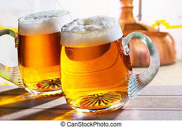 vidro, cerveja, dois, cervejaria