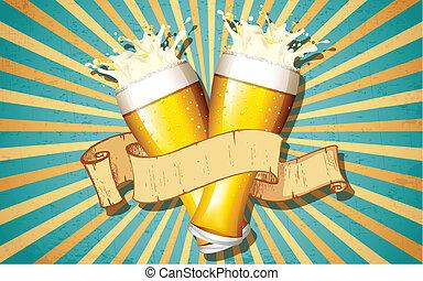 vidro cerveja, em, retro, fundo