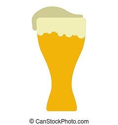 vidro, cerveja, espuma, isolado