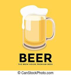vidro, cerveja, espuma