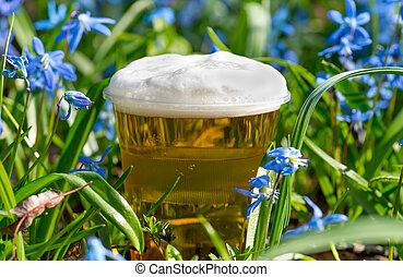 vidro, cerveja, flores