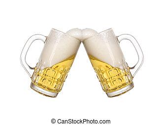 vidro, cerveja fria, dourado