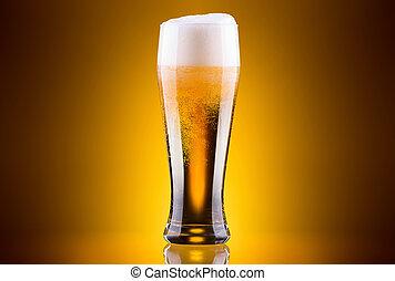 vidro, cerveja, gelado, luz