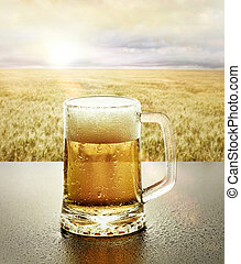 vidro, cerveja, gelado, natureza