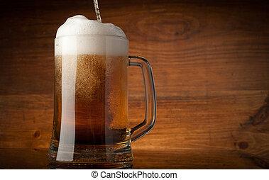vidro, cerveja, ligado, madeira, fundo, com, copyspace