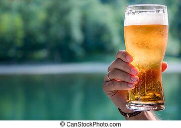 vidro, cerveja, mão