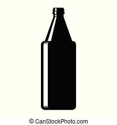 vidro, cerveja, silueta, garrafa