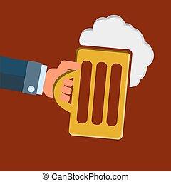vidro, cerveja, ter, mão
