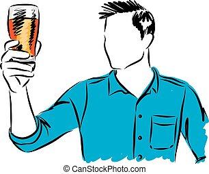 vidro, cerveja, vetorial, ilustração, homem