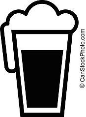 vidro, cerveja, vetorial, quartilho