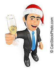vidro champanhe, homem negócios, brindar, natal, 3d