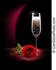vidro champanhe, ligado, preto vermelho, seda