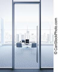 vidro, chefe, porta, escritório