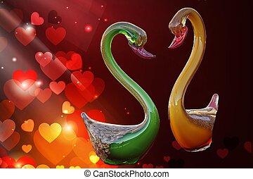 vidro, cisne, amor, artisticos