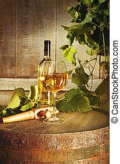 vidro, closeup, garrafa, branca, barril, vinho