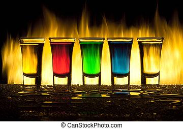vidro, com, álcool, contra, fogo, com, reflexão