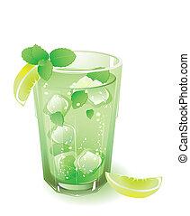 vidro, com, bebida, e, folhas, de, hortelã