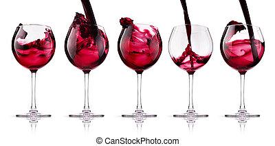 vidro, com, vinho tinto, respingo