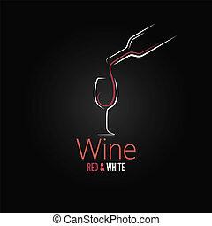 vidro, conceito, desenho, vinho, menu