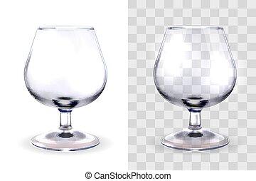 vidro, conhaque, transparente