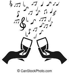 vidro, copo, alegrias, com, nota música