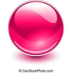 vidro, cor-de-rosa, esfera