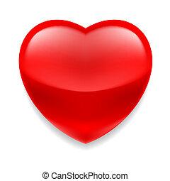 vidro, coração vermelho