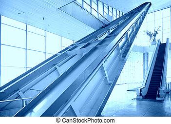 vidro, corredor, escada rolante