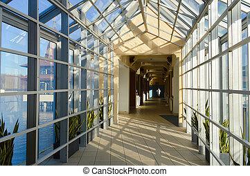 vidro, corredor, interior, perspectiva