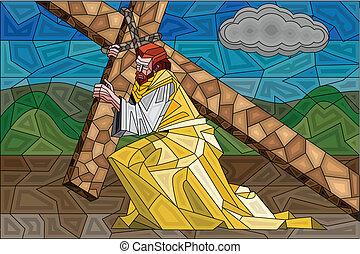 vidro, crucificação, manchado, quadro