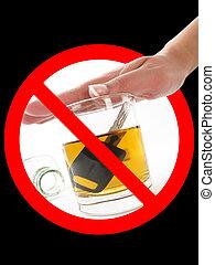 vidro, de, álcool, em, proibição, sinal