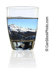 vidro, de, winter., wintry, paisagem, em, um, vidro água