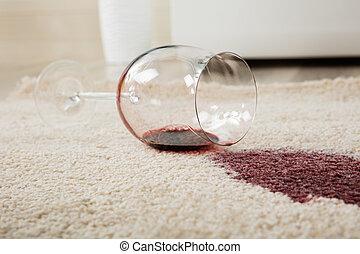 vidro, derramado, vinho, tapete vermelho