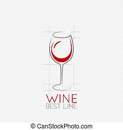 vidro, desenho, fundo, vinho