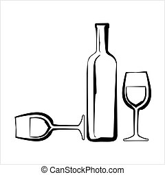 vidro, desenho, garrafa, vinho