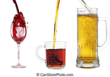 vidro, despeje, vinho