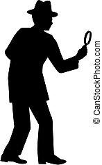 vidro, detective., magnificar, homem, silhouette.