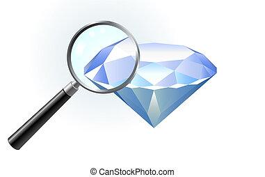 vidro, diamante, magnificar, sob