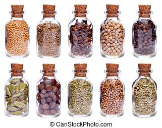 vidro, diferente, temperos, garrafas, sortimento