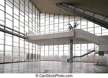 vidro, escada, corredor