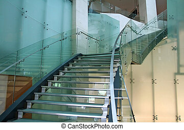 vidro, escadas