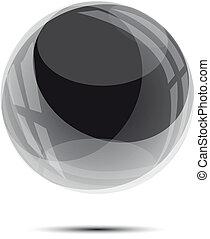 vidro, esfera preta