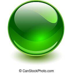 vidro, esfera verde