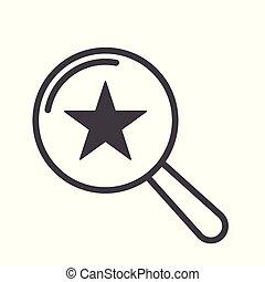 vidro, estrela, magnificar, ícone