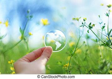 vidro, flores, terra