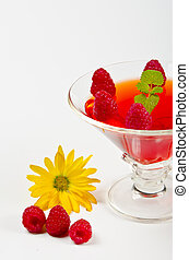 vidro, geléia, tigelas, framboesas, fruta, fresco