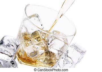 vidro, gelado, álcool